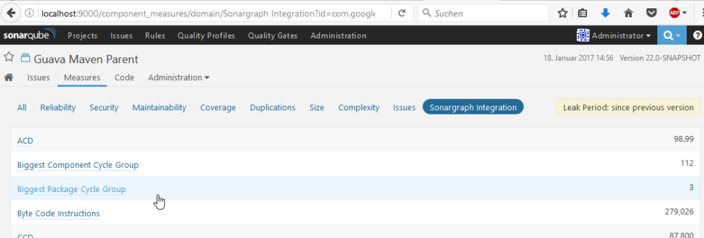 Sonargraph Measures in SonarQube